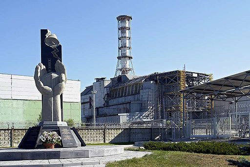 Chernobyl memorial with old shelter object in background