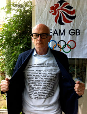 Peter Murray shows off his screen-printed shirt bearing the names of the architects and engineers who designed the London Olympics.