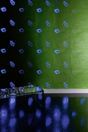 The LED lights within the wallpaper can be turned off and on to create different colors and patterns.