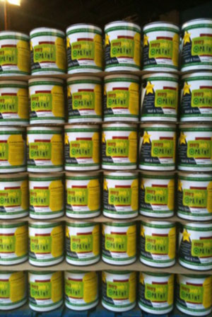 Cosby produces Everybody's Paint from about 50,000 cans of used paint per month.
