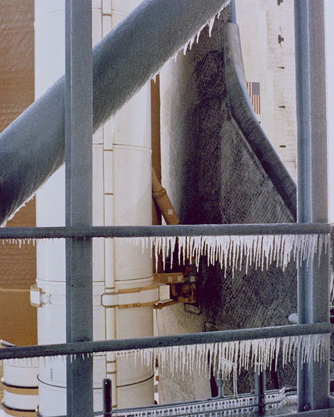 Icicles on Challenger's launch pad