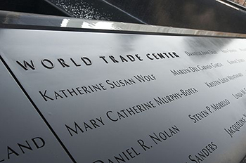 Section of 9/11 memorial