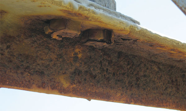 corroded angle section and bolts