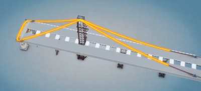 Aerial view graphic of Bay Bridge main cable