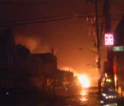 WABC footage of fire in Queens