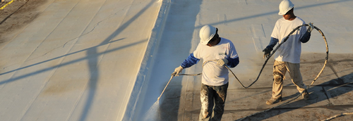 Roof coating spraying