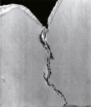 Nickel-base superalloy crack