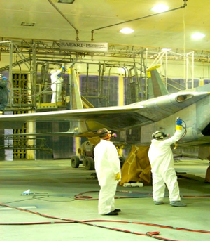 F-15 conversion coating spray painting