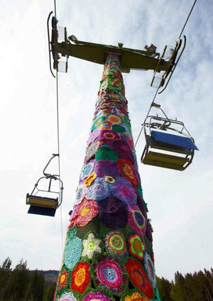 Yarn Bomb Ski Lift