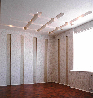 Drywall ceiling with recessed geometrical ornament