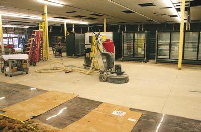 Concrete floor during construction