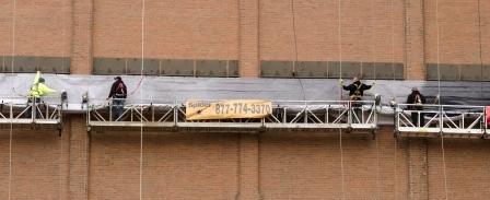 LeBron James banner installation