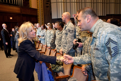Dr. Jill Biden and soldiers