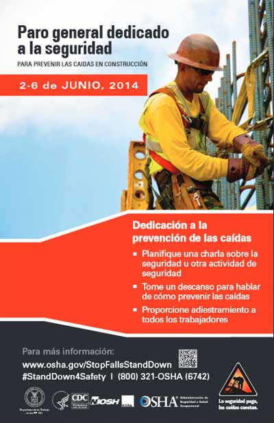 Safety stand down poster in Spanish