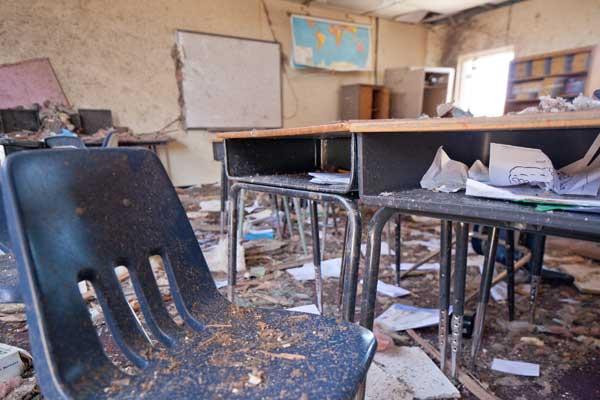 Tornado damage in school