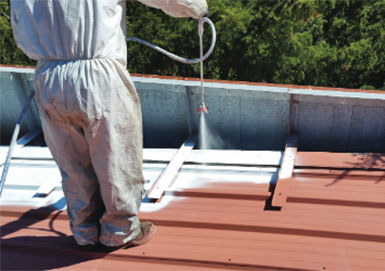 application of silicone roof coating