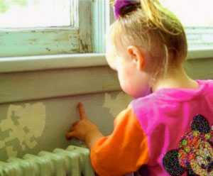 Child near window