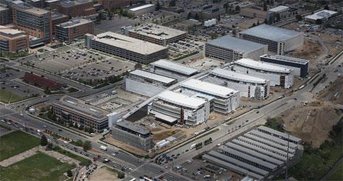 Aerial of VA hospital under construction