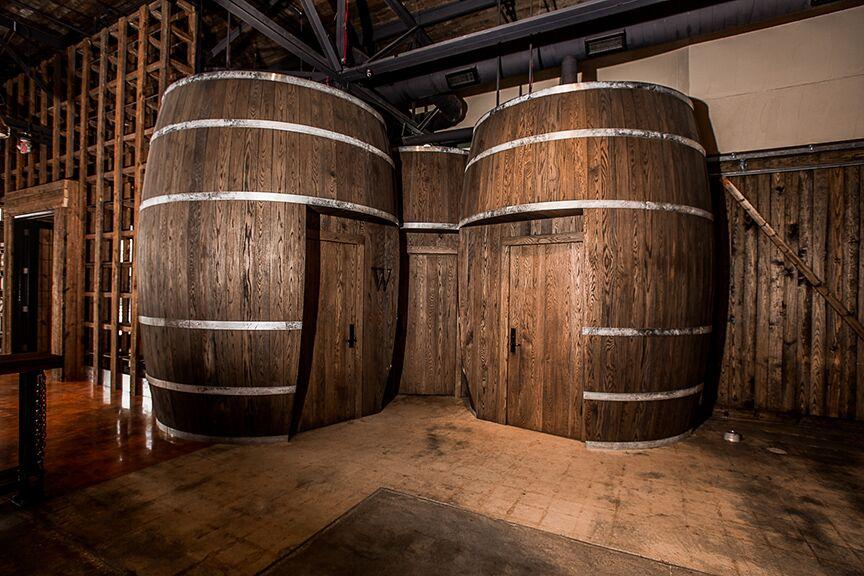 Whiskey barrel bathroom