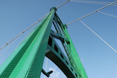 Green bridge tower
