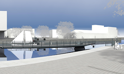 new swing bridge over Lotse Canal in Hamburg-Harburg, Germany
