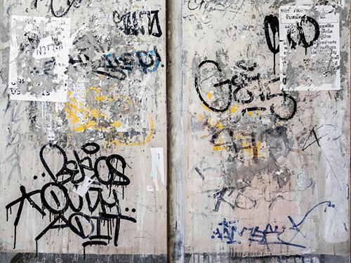 graffiti at transit station