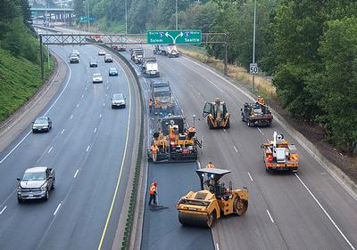 Road work in Oregon