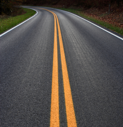 highway with yellow lines