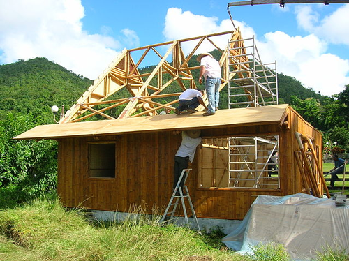 Bamboo house construction