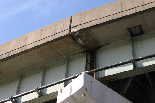 Corrosion on a bridge