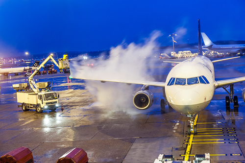 airplane deicing on runway