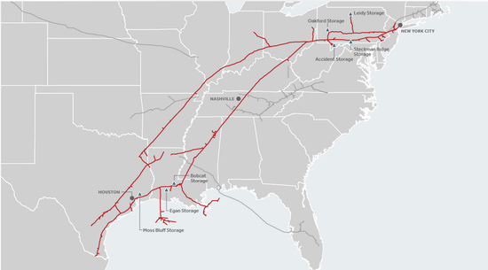 Texas East Pipeline map