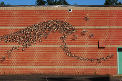 Bee mural on a school building