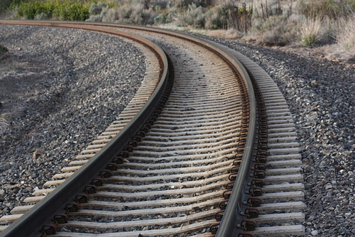 Rail with concrete sleepers