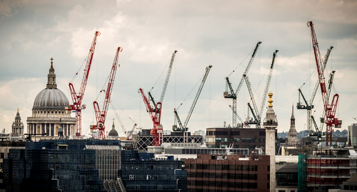 Construction cranes over London