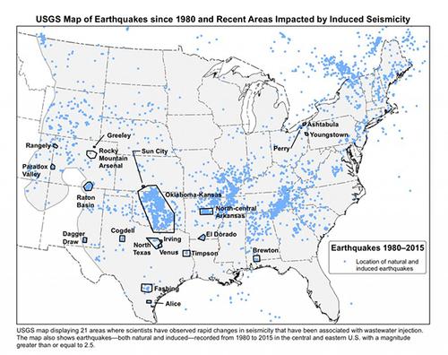 USGS earthquake map, eastern U.S.