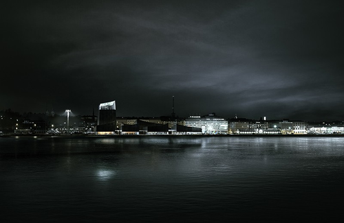Redering of Guggenheim Helsinki at night