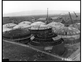 Historical photo of Hanford tanks