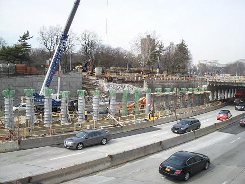 Queens Blvd Bridge construction, March 2016