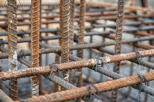steel rods to reinforce concrete