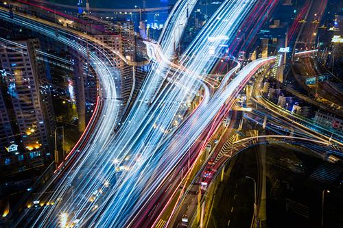 transportation infrastructure at night