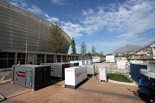 Aggreko temporary generators at Green Point Stadium, Cape Town